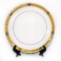 Тарелка белая(узор  с золотом)d-20см+подс+индивид упак(26) LQSM8-1