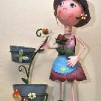 """Кашпо металл """"Девочка на 2 цветка""""(высота 70см)SX4198"""
