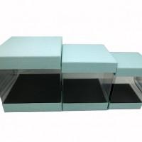 Набор коробок подар из 3шт картон+PVC Квадрат, 25*25*20cm 0351-5(12)