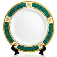 Тарелка(каемка с рисунком)зеленая с золотом d-20см  1/36+подстPL 04