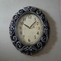 Часы пластик КЛАССИКА настенные, цвет серебро, 36*45 см, размер циферблата 23*28, стрелки за стеклом