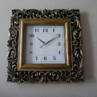 Часы пластик АМПИР  настенные, цвет бронза, 48*48 см. размер циферблата 26*26 см, стрелки за стеклом