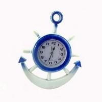 Часы пластик ЯКОРЬ настенные, цвет бело-голубые, 40*37 см, D 18 см, стрелки под  стеклом.