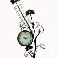 """Часы ВИНТАЖ """"ЦВЕТОК""""  настенные, бронза, металл, размер  38*100 см, D 22 см, Стрелки за стеклом."""