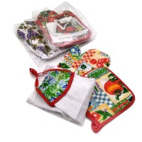Набор подарочный текстильный из 3-х предметов ( Прихватка+ варежка-прихватка+ кух. пол)895-4